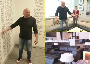 Dana White's insane UFC workplace consists of samurai swords, a cash gun, health club, bar, a sabre-tooth tiger cranium and warfare room to plan subsequent fights