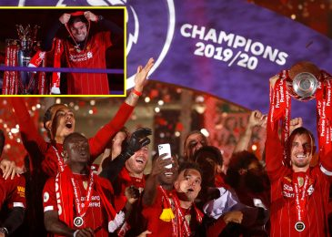Jordan Henderson does humorous shuffle as Liverpool carry Premier League trophy for first time in beautiful Anfield mild present