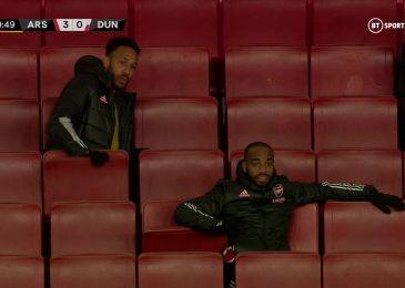 Pierre-Emerick Aubameyang seems to slam Emirates Stadium seat down throughout Arsenal's snug Europa League win over Dundalk