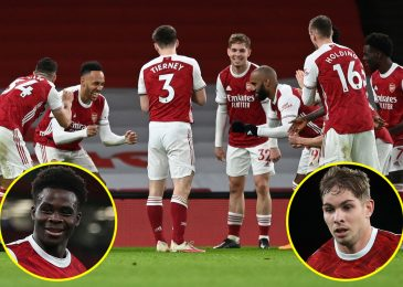 Pierre-Emerick Aubameyang and Arsenal children Bukayo Saka and Emile Smith Rowe pile distress on Newcastle and do socially-distanced celebration