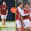 Arsenal's Kieran Tierney warms up in only a t-shirt and shorts as snow pours forward of West Brom conflict