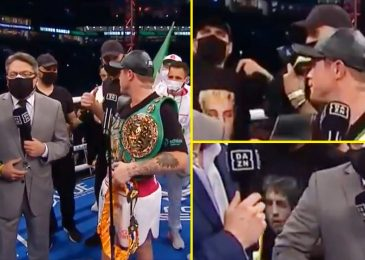 Watch as Canelo Alvarez kicks out ring crashers sporting Jake Paul and Ben Askren T-shirts and seems to name them 'f***ers' after Avni Yildirim win