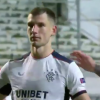 Rangers defender Borna Barisic stares down Royal Antwerp goalkeeper after scoring successful penalty in dramatic seven-goal thriller