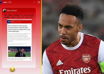 Pierre-Emerick Aubameyang laughs off Jamie Redknapp's declare he is 'previous his finest' as Arsenal star nets twice in Europa League victory