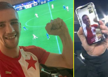 West Ham star Tomas Soucek joins celebrations with former Slavia Prague teammates by video after they dump Leicester out of Europa League