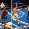 Watch as boxer KOs opponent who had his again turned after refereeing confusion when official appeared to alter his thoughts