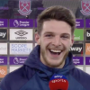 Declan Rice jokes David Moyes has put him again on penalty responsibility after Jesse Lingard's miss as West Ham beat Leeds