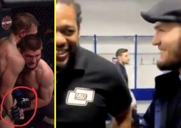 Previous footage emerges of Khabib Nurmagomedov joking with Herb Dean about letting Conor McGregor off the hook with unlawful strikes throughout grudge match at UFC 229