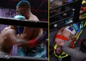 Watch as boxer is stretchered out of ring after being accused of FAKING low blow on Jake Paul vs Ben Askren undercard