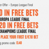 Get £40 in free bets for the Champions League and Europa League with 888 Sport
