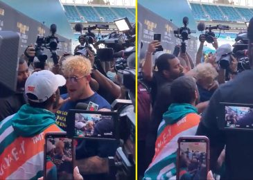 Floyd Mayweather and Jake Paul get into livid BRAWL at Logan Paul press convention after YouTuber 'disrespects' boxer by stealing his hat