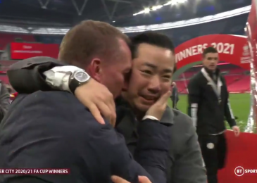 Brendan Rodgers and Khun High embrace as Leicester City rejoice FA Cup triumph