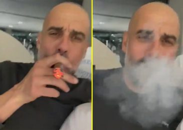 Pep Guardiola noticed brilliantly belting out Oasis while smoking cigar as Man City boss celebrates Premier League title triumph