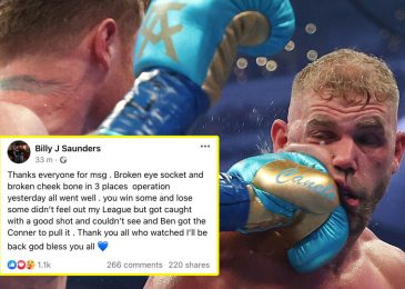 Billy Joe Saunders reveals extent of ugly eye damage sustained towards Canelo Alvarez and vows to make return to ring in first assertion since brutal loss