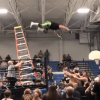 Unbiased professional wrestler breaks his hip and femur after leaping from a ladder